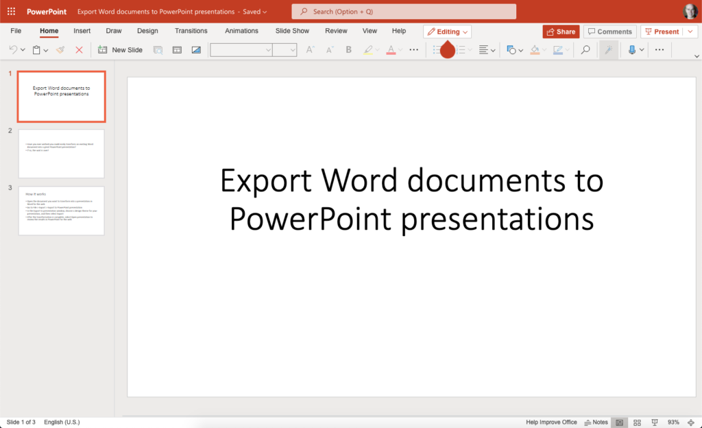 Image of the document in PowerPoint